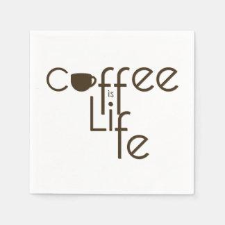 Serviette En Papier Le café est typographie de la vie