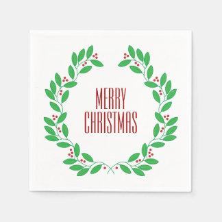 Serviette En Papier Le feuille et les baies de Noël tressent le Joyeux