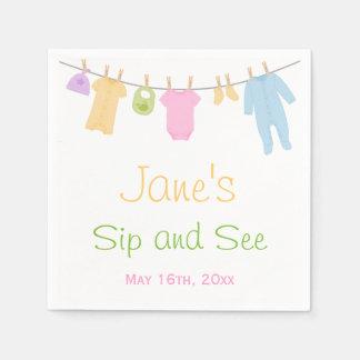 Serviette En Papier Le petit Sip de bébé de vêtements et voient
