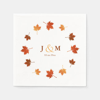 Serviette En Papier l'érable coloré part du mariage de automne