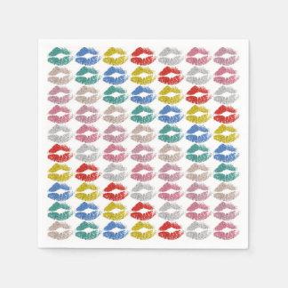 Serviette En Papier Lèvres colorées élégantes #36