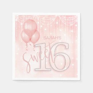 Serviette En Papier Lumières de ficelle et or rose ID473 du bonbon 16
