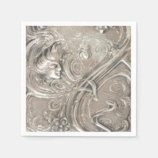 Serviette En Papier Madame argentée dans l'antiquité de Nouveau d'art
