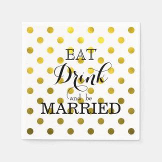 Serviette En Papier Mangez la boisson et soyez marié