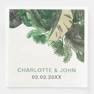 Serviette En Papier Mariage botanique de verdure de terrain tropical