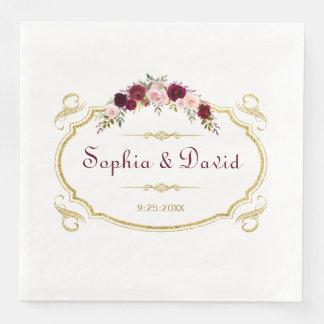 Serviette En Papier Mariage de automne floral élégant de Bourgogne