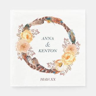 Serviette En Papier Mariage floral de guirlande de plume
