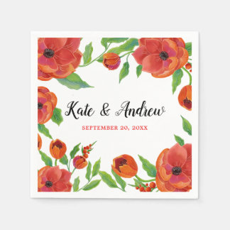 Serviette En Papier Mariage floral de pivoines rouges