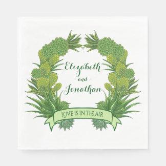 Serviette En Papier Mariage succulent vert floral de guirlande de