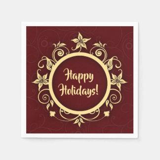 Serviette En Papier Message marron et floral de vacances de guirlande