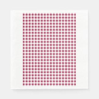 Serviette En Papier Motif blanc rouge de guingan de baie