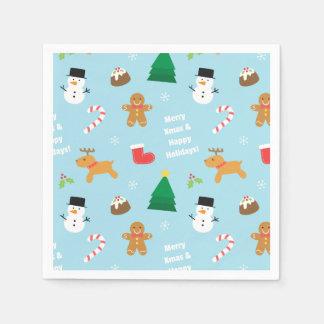 Serviette En Papier Motif coloré de Noël de bonhomme de neige de pain