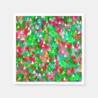 Serviette En Papier Motif d'aquarelle d'arbre de Noël