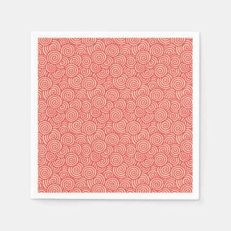 Serviette En Papier Motif de remous de Japonais - orange de corail