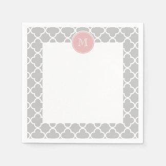 Serviette En Papier Motif gris de Quatrefoil, monogramme rose