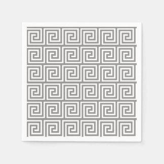 Serviette En Papier Motif principal grec gris