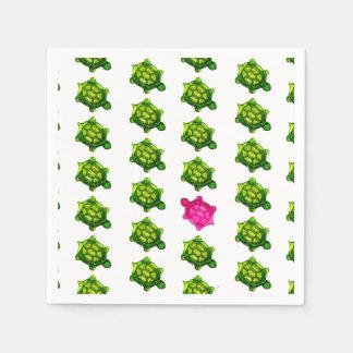 Serviette En Papier Motif vert et rose de tortue