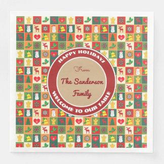 Serviette En Papier Noël de fête et par amusement personnalisé