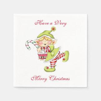 Serviette En Papier Noël lunatique Elf