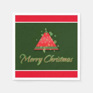 Serviette En Papier Noël moderne d'arbre de Noël Joyeux