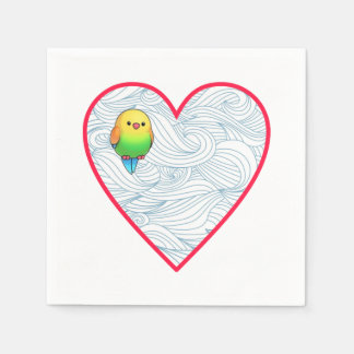 Serviette En Papier Oiseau de bébé mignon sur l'amoureux