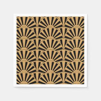 Serviette En Papier Or et motif noir de fleurs de fan d'art déco