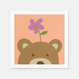 Serviette En Papier Ours et fleur
