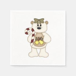 Serviette En Papier Ours mignon de Noël blanc