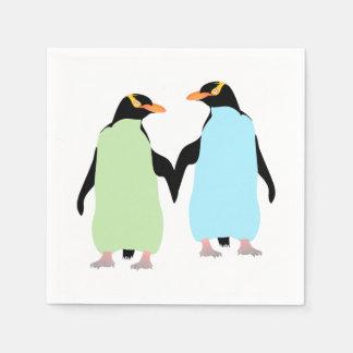 Serviette En Papier Pingouins de gay pride tenant des mains