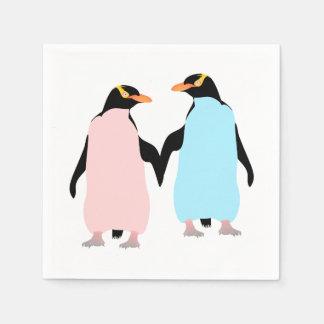 Serviette En Papier Pingouins en pastel dans l'amour