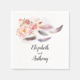 Serviette En Papier Plumes florales de Boho