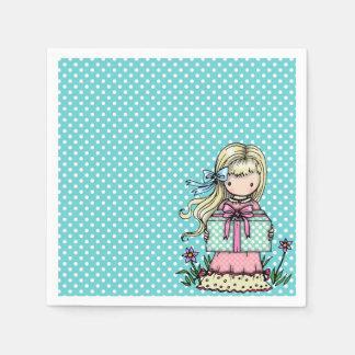 Serviette En Papier Point de polka de turquoise de fête d'anniversaire