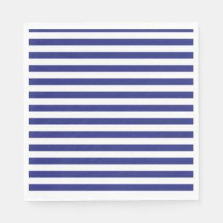 Serviette En Papier Rayures bleues et blanches