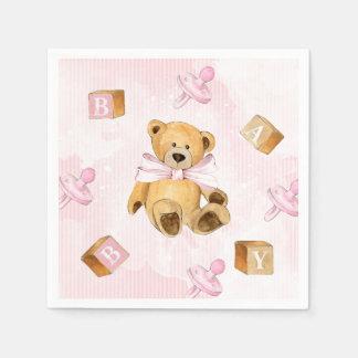 Serviette En Papier Rayures et baby shower roses de nounours