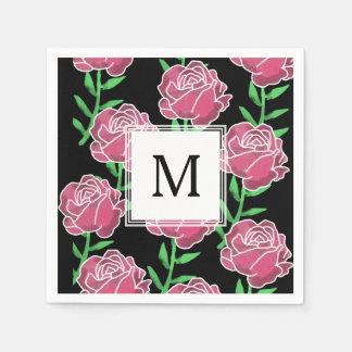 Serviette En Papier Roses d'aquarelle de pays épousant des serviettes