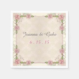 Serviette En Papier Roses roses illustrés par aquarelle épousant des