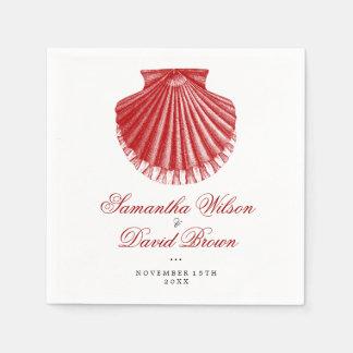 Serviette En Papier Rouge vintage de Shell de feston de mariage de