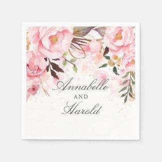 Serviette En Papier Rougissent le mariage floral rose