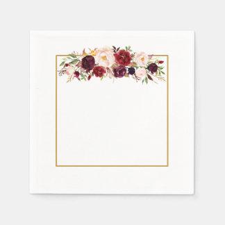 Serviette En Papier Serviette de mariage de monogramme de fleur de