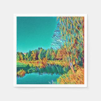 Serviette En Papier Serviette de papier originale d'art de paysage de