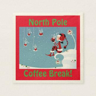 Serviette En Papier Serviette de pause-café de Pôle Nord d'Elf de Noël