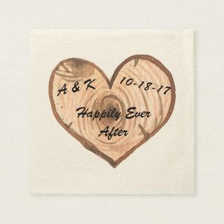 Serviette En Papier Serviette en bois de coeur