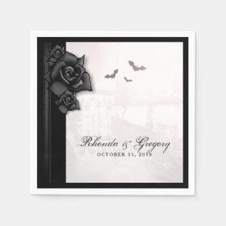 Serviette En Papier Serviette gothique noire de mariage de Halloween