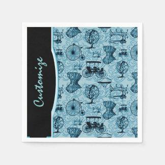 Serviette En Papier Serviettes bleues de motif de Steampunk