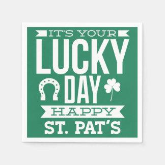 Serviette En Papier Serviettes chanceuses de Jour de la Saint Patrick