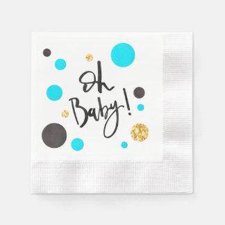 Serviette En Papier Serviettes de baby shower de bleu et d'or pour le