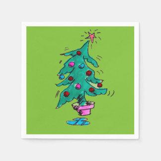 Serviette En Papier Serviettes de cocktail d'arbre de Noël - vert