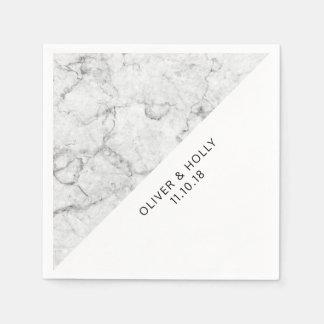 Serviette En Papier Serviettes de marbre modernes de mariage
