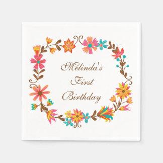 Serviette En Papier Serviettes de papier d'anniversaire floral fait
