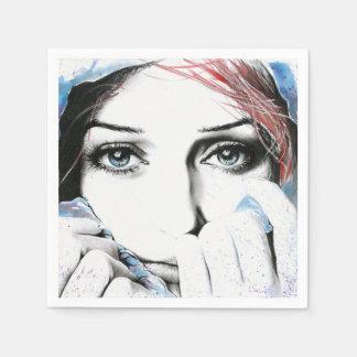 Serviette En Papier Serviettes de papier d'art d'aquarelle de portrait